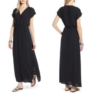 Halogen v-neck maxi dress solid black classic
